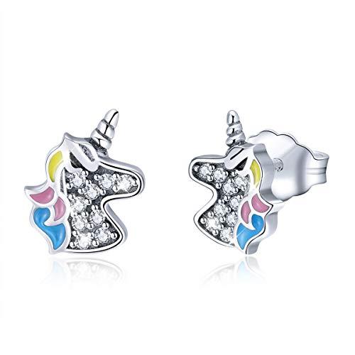 Pendientes de tuerca de plata de ley con diseño de unicornio para mujeres y niñas, circonitas cúbicas, hipoalergénicos