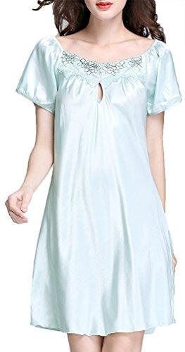 FLYCHEN Donna Camicie da Notte Raso Pigiami e camicie da notte La Luce Blu