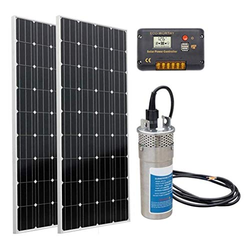 DC HOUSE Solar Deep Well Water Pump: 160W Monocrystalline Solar Panel + 12V Deep Well Water Pump + 20A Charge Controller for Home Irrigation Ranch Farm - Barbed Port