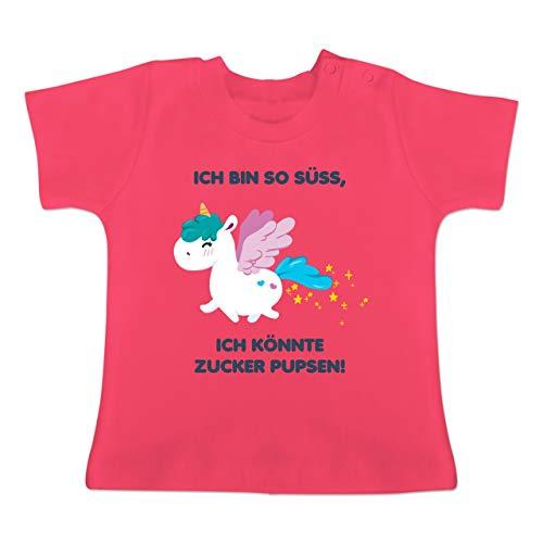 Up to Date Baby - Einhorn - Ich Bin so süß, ich könnte Zucker pupsen! - 3/6 Monate - Fuchsia - BZ02 - Baby T-Shirt Kurzarm -