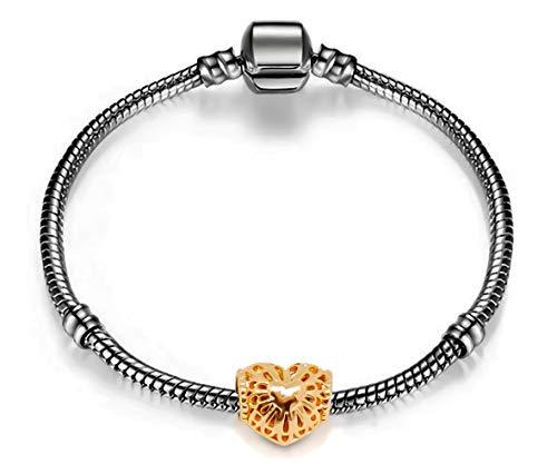 Schwarzer Schlangenkette starterset mit Rosegold Herz Charms | Armband mit Charms | Basic Starter Set Bracelet Black Snake Chain Rose Gold Heart Charm | kit de...