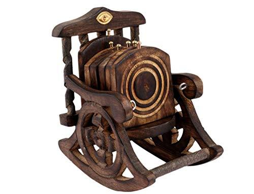 Craftworld(TM) Tee-/Kaffee-Untersetzer-Set mit Schaukelstuhl-Motiv, Holz, antikes Design