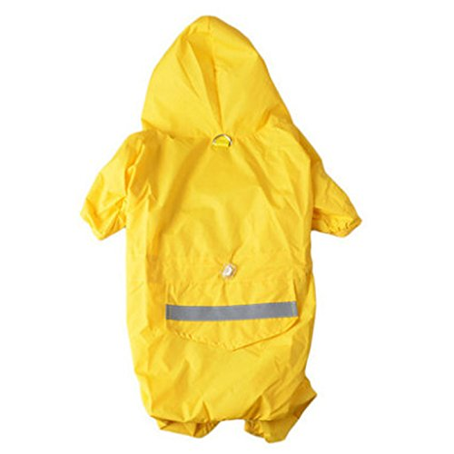BADALink PU Leder Hoodie Hund Regenmantel Haustier RegenJacke Wasserdicht Sommer Kleidung Farbe Gelb Größe M-Rückenlänge 28cm Halsumfang 34cm Bust 42cm
