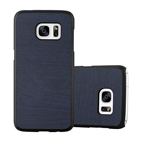 Preisvergleich Produktbild Cadorabo Hülle für Samsung Galaxy S7 - Hülle in Woody BLAU – Hardcase Handyhülle in Vintage Holz Optik - Schutzhülle Bumper Back Case Cover