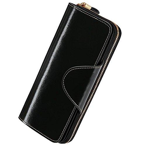 Damen Geldbörse Brieftasche aus Echt Leder Geldbeutel Geldtasche mit RFID Schutz, größer Kapazität, Multi-Kartensteckplatz auch als Handtasche bester Geschenk für Geburtstag Valentinstag-Schwarz