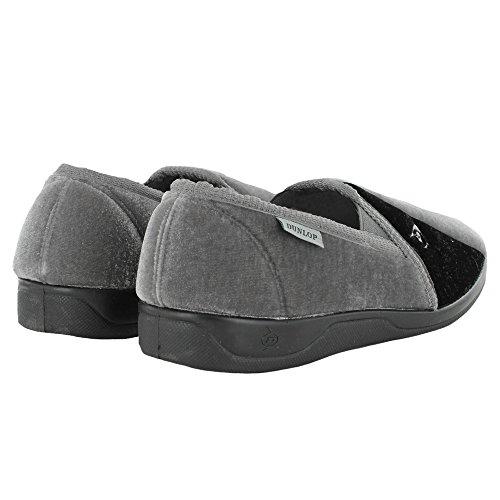 Herren berühmt DUNLOP elastische zwickel pantoffeln Schwarz, Marineblau & Burgund UK Größen 6,7,8,9,10,11,12,13,14 Grey Navy
