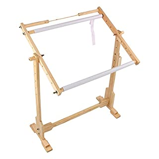 Adjustable Cross Stitch Floor Stand, Wooden Frame Embroidery Cross Stitch Needlework Lap Frame Craft Tool (S:60x40x75cm)