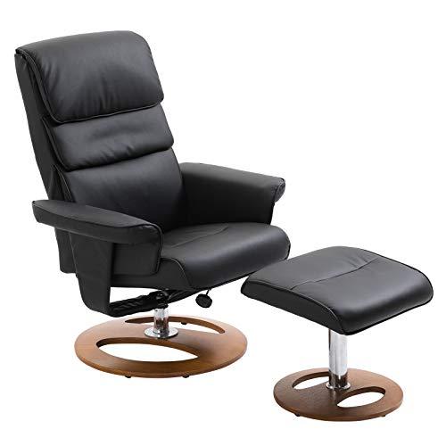 HOMCOM Relaxsessel mit Hocker Fernsehsessel Polstersessel 360° drehbar 120° neigbar PU-Bezug Holzfuß Schwarz 81 x 76 x 103 cm