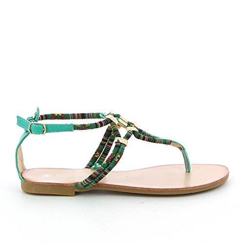 Sandales plates à corde colorée Vert