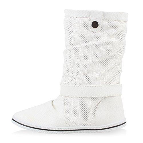 Warm Gefütterte Damen Schlupfstiefel Schnallen Stiefel 78602 Zierknöpfe Comfy Weiß