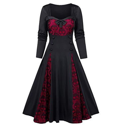 RYTEJFES Vestido De Noche Medieval con Estampado De Calavera De...