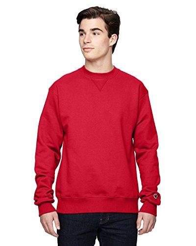 Champion Men's Max Crewneck Full Athletic Fit Sweatshirt, scarlet, Medium (Champion Sportbekleidung)