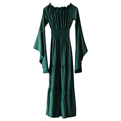 Krieger Kostüm Wilde - MMOOVV Damen Cosplay Retro Mittelalter Renaissance Rollenspiel Retro Party Club Abendkleid Kleid (Grün 4XL)