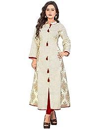 Kurtis For Women (Latest Low Price Designer Party Wear White Cotton Kurtis For Women/Girls)