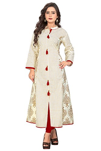 Vaikunth Fabrics Women's Cotton White Kurtis