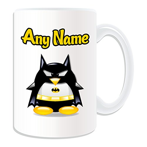 Personalisiertes Geschenk, großer Batman Tasse (Pinguin Film Charakter Design Thema, weiß)–Jeder Name/Nachricht auf Ihre Einzigartiges–Kostüm Film Superheld Hero Marvel Comics Avengers Bruce (Kostüme Marvel Für Babys)