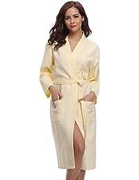 a207a30bde Aibrou Unisex Waffle Weave 100% Cotton Bathrobe Dressing Gown Lightweight Robe  for Spa Hotel Sleepwear