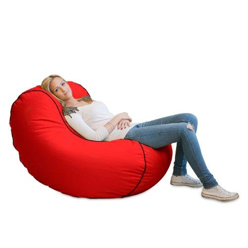 Lumaland Luxury Lounge Chair Sitzsack stylischer Beanbag 320L Füllung verschieden Farben Rot