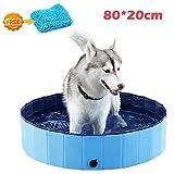 xuehaostore Piscina para Perros Plegable, Bañera para Perros Gatos, Natacion Mascotas-Azul (80 * 20cm)