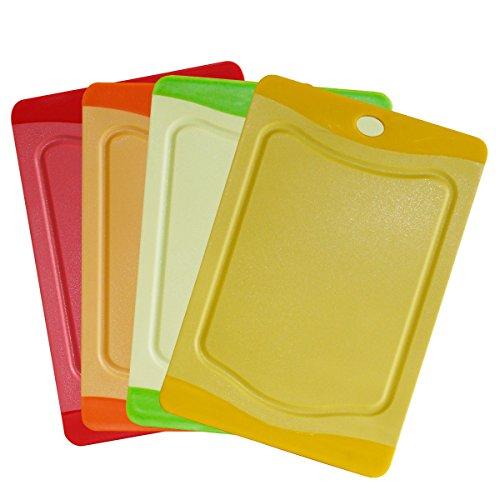 STONELINE Set, 4-TLG, 20 x 14 cm, rot, orange, grün, gelb, Kunststoff Schneidebrett, bunt, 20.1 x 13.9 x 3.1 cm, 4-Einheiten (Microban Schneidebretter)