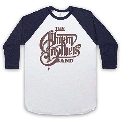 Inspiriert durch Allman Brothers Band Logo Inoffiziell 3/4 Hulse Retro Baseball T-Shirt Weis & Ultramarinblau
