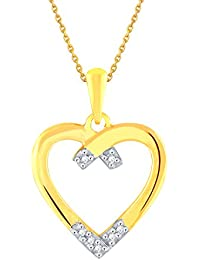 Silvernshine 1/8 Carat Diamond 14k Yellow Gold Fn .925 Sterling Fancy Heart Pendant Necklace