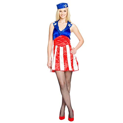 Sexy Miss America Kostüm für Comic Superhelden Fans Mini Kleid mit Kappe exklusiv bei Elbenwald - 40/42 (Captain America Comics Kostüme)