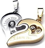 Anvi Jewellers Two Piece Stainless Steel Couple Pendant Set...