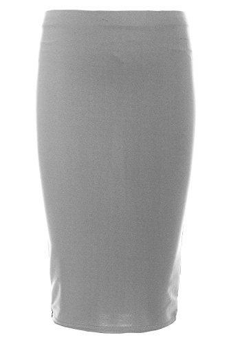 Mädchen Einfarbig Skater Midirock Schuluniform Elastisch Taille Dehnbar Kinder Freizeit Bekleidung Formelle Outwearlinie Tanz Party Fashion Kostüm - grau, 7-8 Jahre / DE (Tanz Schuluniform Kostüm)