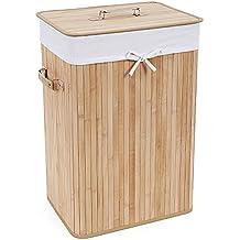 Songmics LCB102 - Cesto para la colada (madera de bambú), color marrón claro