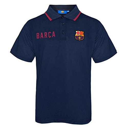 FC Barcelona Official Football Gift Boys Crest Polo Shirt Navy Blue 10-11 Years