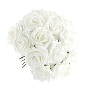 50 x Rosa Fiore Artificiale Bianco per Decorazione Casa Festa