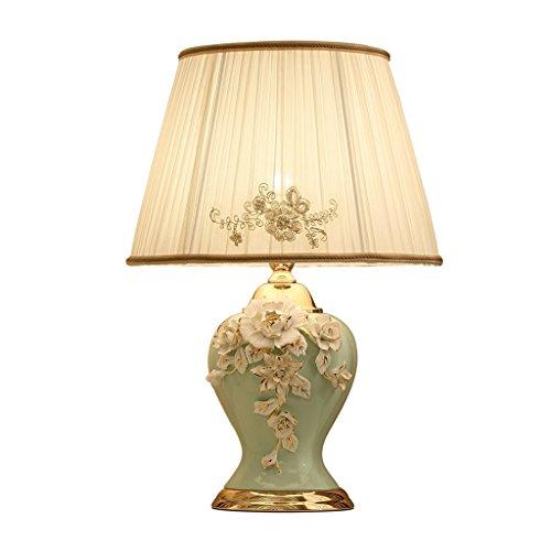 JILAN HOME- Charm Gold Handwerk Elegante Hand Bemalt Blume Studie Auge lampe Keramik Tischlampe Schlafzimmer Nachttischlampe Tuch Schatten E27 LED Schreibtisch Licht ( Farbe : Grün ) (Charm-handwerk)