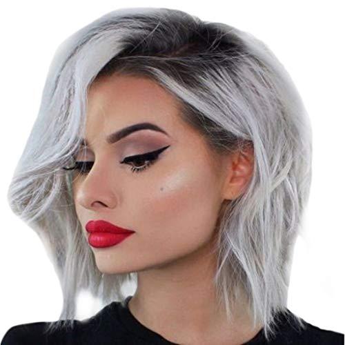 Ttmall parrucche capelli ricci,parrucca grigia lace front sintetiche parrucca di capelli naturali umani vergine tipo sciolti ricci con per donne