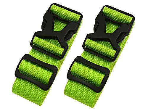 Riemot Koffergurt Kofferband Gepäckgurt Kreuz Koffer Gurte Riemen Verstellbar & Rutschfest 2 Stück Grün