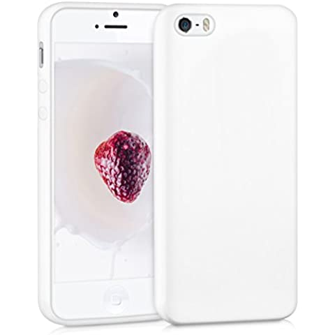 kwmobile Funda de TPU silicona chic para el Apple iPhone SE / 5 / 5S en blanco mate