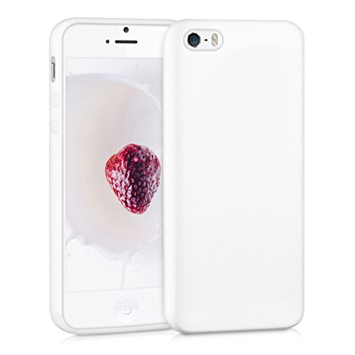 Weiß Handy (kwmobile Hülle für Apple iPhone SE / 5 / 5S - TPU Silikon Backcover Case Handy Schutzhülle - Cover Weiß matt)