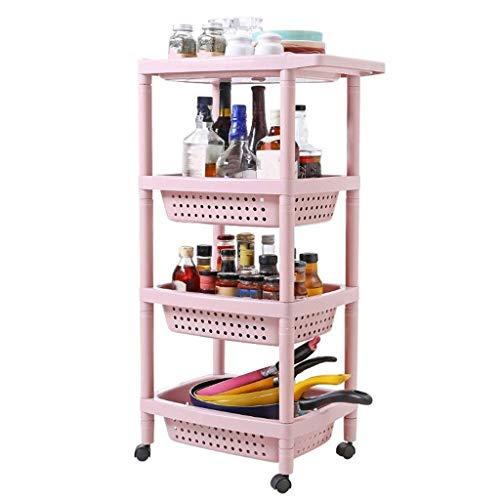 ZHJZWJ Aufbewahrungswagen für die Küche Küchenwagen, Mehrschichtige Regal Lagerregal Rack Bad Lagerregal (Color : Pink, Size : 47.5 * 31 * 87cm)