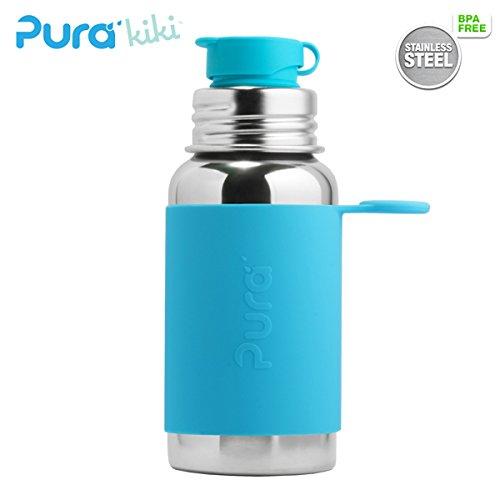 PuraSport™ Flasche - 500ml - BigMouth™ Aufsatz (inkl. Silikonüberzug) Pura Farbe/Design Blank + Blauer Überzug