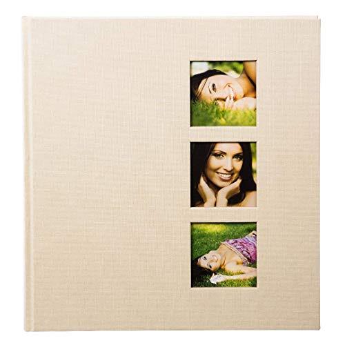 Goldbuch Fotoalbum mit 3 Fensterausschnitten, Style, 30 x 31 cm, 60 weiße Seiten mit Pergamin-Trennblättern, Leinen, Beige, 27624
