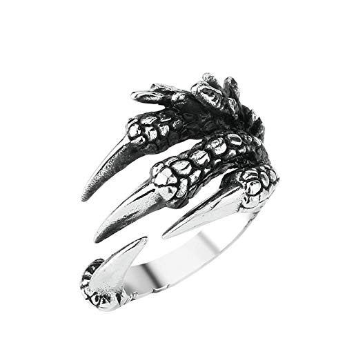 SonMo Herren Edelstahl Ring Finger-Rüstungoffene Klaue Ringe Herren Breit Eheringe Ohne Stein Silber Herrenring Gothic Größe 60 (19.1)