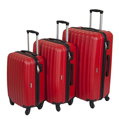 Reisekoffer 3er Kofferset Hartschalenkoffer Suitcase Trolley Koffer Hartschale Economy (Rot)