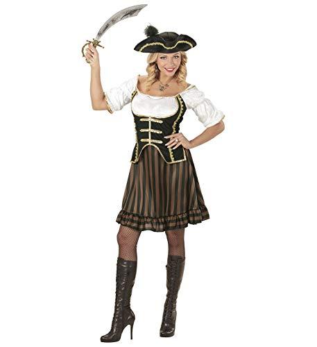 Nerd Clear Piratin Damen Kostüm | 2-teilig Kleid mit Corsett, Piratenhut mit Feder | ideal für Karneval, Fasching & Halloween (0688, (Nerd Halloween Kostüme)