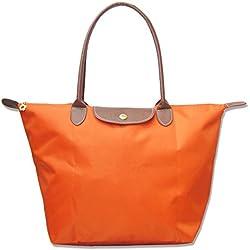 Bekilole, Tragetasche für Damen aus Nylon, Schultertasche für Reise, Strandtaschen Gr. Large, Orange