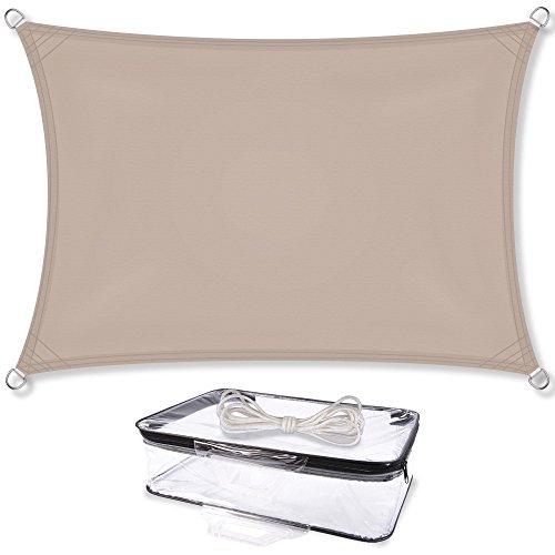 Sonnensegel Sonnenschutz Garten | UV-Schutz PES Polyester wasser-abweisend imprägniert | CelinaSun 1000559 | Rechteck 2 x 3 m taupe