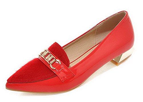 AllhqFashion Damen Blend-Materialien Eingelegt Spitz Zehe Niedriger Absatz Pumps Schuhe Rot