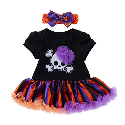 2018 Ropa De Bebé Halloween Pumpkin Dress Cosplay Disfraz ConjunClothing to Body Girl + Diadema (3-18Meses (Negro, 12 Month)