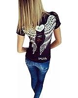 Sannysis Damen Spitze-Höhle-Engels-Flügel Kurzarm T-Shirt Bluse