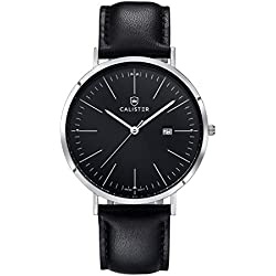 Calister BAU003 Swiss Quartz Men's Watch, Analogue, Leather Bracelet, Black