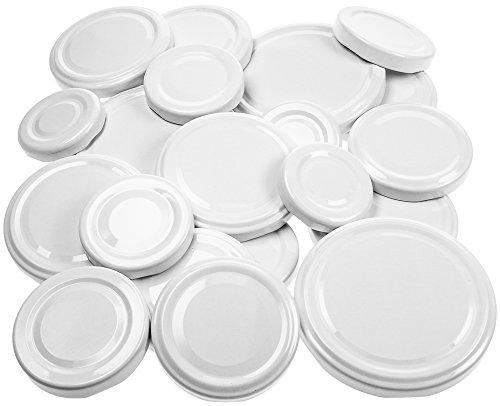 21 Ersatzdeckel weiß, Deckel Schraubdeckel Twist-Off-Verschluss für Marmeladengläser Einmachgläser Sturzgläser